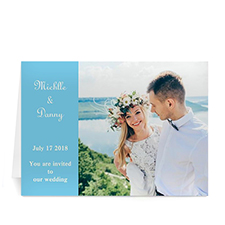 Personalised Baby Blue Wedding Photo Cards, 5