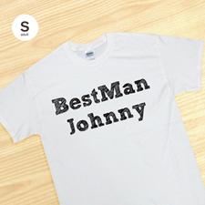 Custom Best Man White Cotton T-Shirt, S