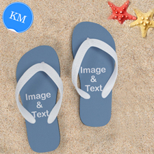Design My Own Two Images Kids Medium Colour White Flip Flops