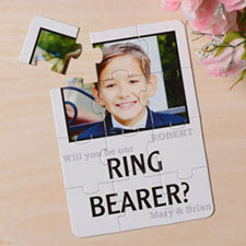 White Will You Be My Ring Bearer Invitation Puzzle