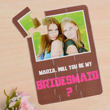 Personalised Brown Will You Be My Bridesmaids Invitation Puzzle