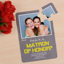 Personalised Gray Will You Be My Maid Of Honor Invitation Puzzle