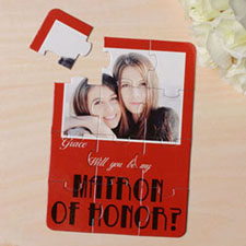 Personalised Red Will You Be My Maid Of Honor Invitation Puzzle