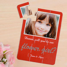 Personalised Red Will You Be My Flower Girls Invitation Puzzle
