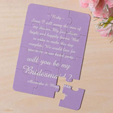 Personalised Personalised Background And Words For Bridesmaid Invitation Puzzle