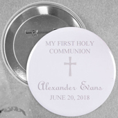 Light Grey Christening Simple Cross Custom Button Pin, 2.25