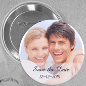 Wedding Photo Personalised Button Pin, 2.25