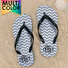 Design My Own Chevron Monogrammed  Many Colours Kids Medium Flip Flops