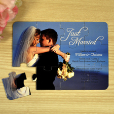 Personalised Just Married Wedding Announcement Invitation Puzzle