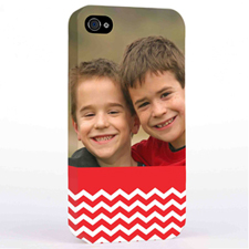 Personalised Red Chevron Pattern iPhone 4 Hard Case Cover