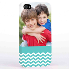 Personalised Aqua Chevron Pattern iPhone 4 Hard Case Cover