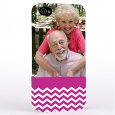 Personalised Hot Pink Chevron Pattern iPhone 4 Hard Case Cover