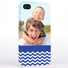 Personalised Blue Chevron Pattern iPhone 4 Hard Case Cover