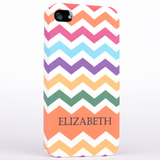 Personalised Matte Colours Chevron iPhone 4 Hard Case Cover