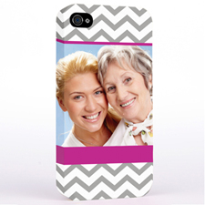 Personalised Grey & Hot Pink Chevron Photo iPhone 4 Hard Case Cover