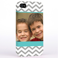 Personalised Aqua & Grey Chevron Photo iPhone 4 Hard Case Cover