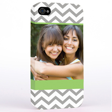 Personalised Lime & Grey Chevron Photo iPhone 4 Hard Case Cover