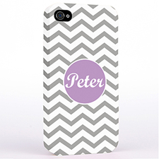 Personalised Silver Chevron iPhone 4 Hard Case Cover