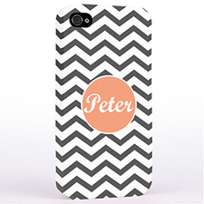 Personalised Grey Chevron iPhone 4 Hard Case Cover