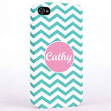 Personalised Aqua Chevron iPhone 4 Hard Case Cover