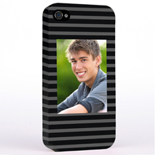Personalised Grey Stripes Pattern Photo iPhone 4 Hard Case Cover