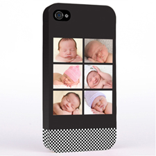 Personalised B&W Stripes Six Collage iPhone 4 Hard Case Cover