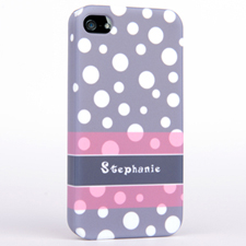 Personalised Grey Polka Dots Pattern iPhone 4 Hard Case Cover