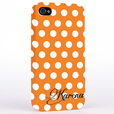 Personalised Orange Polka Dots Background iPhone 4 Hard Case Cover