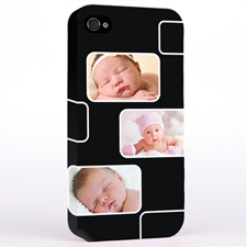 Personalised Black 3 Collage iPhone 4 Hard Case Cover