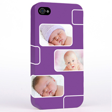 Personalised Purple 3 Collage iPhone 4 Hard Case Cover