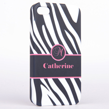 Personalised Zebra Pattern Monogrammedmed iPhone 4 Hard Case Cover