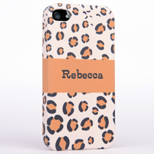 Personalised Leopard Pattern Monogrammedmed iPhone 4 Hard Case Cover