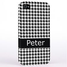 Personalised Black Hounds Tooth Monogrammedmed Hard Case Cover