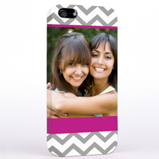 Personalised Grey & Hot Pink Chevron Photo iPhone 5 Case