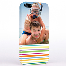 Personalised Colourful Stripes Photo iPhone Case