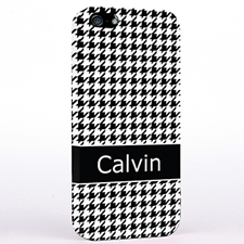 Personalised Black Hounds Tooth Monogrammedmed iPhone Case