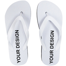 Custom Imprint Flip Flops (One Image) White Straps, Kids Medium