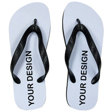 Custom Imprint Flip Flops (One Image) Black Straps, Men Medium