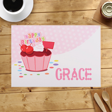Personalised Girl First Birthday Cupcake Placemats