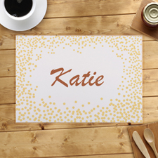 Personalised Gold Confetti Dots Placemats