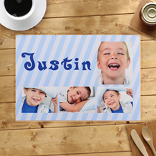 Personalised Blue Stripes Placemats