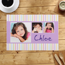 Personalised Kids Stripes Pattern Placemats