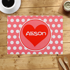 Personalised Carol And White Polka Dots Heart Placemats