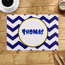 Personalised Blue Chevron Placemats