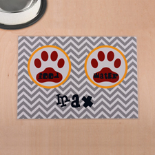 Personalised Grey Chevron Red Paw Print Pet Meal Mat