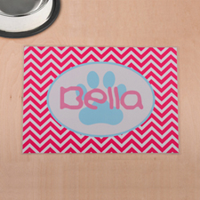 Personalised Fuchsia Chevron Aqua Paw Print Pet Meal Mat