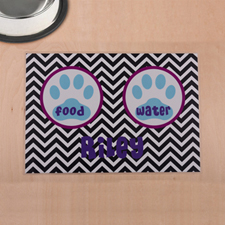 Personalised Black Chevron Aqua Paw Print Pet Meal Mat