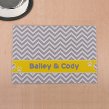 Personalised Grey And Yellow Chevron Stripes Pet Meal Mat