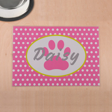 Personalised Pink Polka Dots And Paw Print Pet Meal Mat