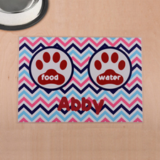 Personalised Colourful Chevron Red Paw Print Pet Meal Mat